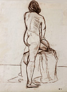 Figure Drawing Prints - Nude Model Print by Ethel Vrana