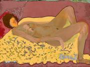Nude Model In Relax Print by Carlos Camus