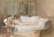 Nude Woman Drawings - Nude on a Sofa by John Ward