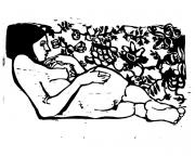 Woodcut Reliefs - Nude on Couch by Robert Cooper