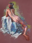 Live Art Pastels Posters - Nude on Cranberry Poster by Kristina Laurendi Havens