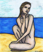 Shoreline Pastels Posters - Nude on The Beach Poster by Kamil Swiatek
