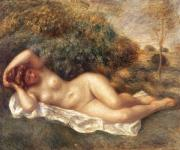 Reclining Paintings - Nude by Pierre Auguste Renoir