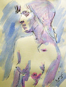 Breast Drawings Posters - Nude Portrait Drawing Sketch of Young Nude Woman Feeling Sensual Sexy and Lonely Watercolor Acrylic Poster by M Zimmerman