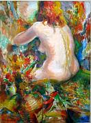 Figures Painting Originals - Nude Rear View by Murray Keshner