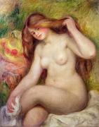 Hair-washing Framed Prints - Nude Framed Print by Renoir
