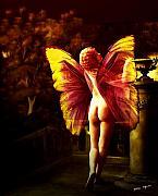 Orange Digital Art Originals - Nude Roman Fairy by Tray Mead