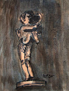 Greek Sculpture Painting Prints - Nude Sculpture Young Boy and Pet Duck Religious Symbolism in Orange and Blue Vatican City Print by M Zimmerman