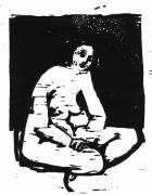Woodcut Reliefs - Nude Sitting by Robert Cooper