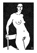 Nude Models Prints - Nude Sketch 11 Print by Leonid Petrushin