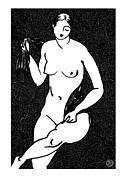 Nude Models Prints - Nude Sketch 12 Print by Leonid Petrushin