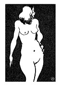 Contemporary Framed Prints - Nude Sketch 13 Framed Print by Leonid Petrushin