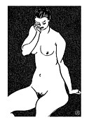 Female Models Body Framed Prints - Nude Sketch 14 Framed Print by Leonid Petrushin