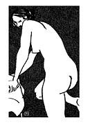Nude Models Prints - Nude Sketch 15 Print by Leonid Petrushin