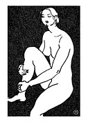 Nude Models Prints - Nude Sketch 16 Print by Leonid Petrushin