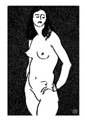 Female Models Body Framed Prints - Nude Sketch 17 Framed Print by Leonid Petrushin