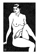 Nude Models Prints - Nude Sketch 18 Print by Leonid Petrushin