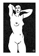 Female Models Body Framed Prints - Nude Sketch 19 Framed Print by Leonid Petrushin