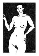 Female Paintings - Nude Sketch 22 by Leonid Petrushin