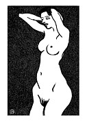 Nude Models Prints - Nude Sketch 23 Print by Leonid Petrushin