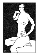 Black Prints - Nude Sketch 25 Print by Leonid Petrushin