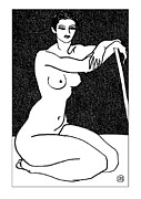 Nude Models Prints - Nude Sketch 29 Print by Leonid Petrushin