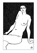 Nude Models Prints - Nude Sketch 30 Print by Leonid Petrushin