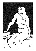 Nude Models Prints - Nude Sketch 34 Print by Leonid Petrushin