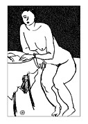 Naked Prints - Nude Sketch 40 Print by Leonid Petrushin