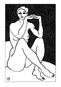 Body Prints - Nude Sketch 41 Print by Leonid Petrushin
