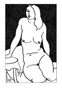 Nude Models Prints - Nude Sketch 42 Print by Leonid Petrushin