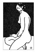 Nude Models Prints - Nude Sketch 45 Print by Leonid Petrushin