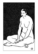 Nude Models Prints - Nude Sketch 46 Print by Leonid Petrushin