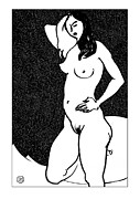 Nude Models Prints - Nude Sketch 47 Print by Leonid Petrushin