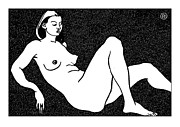 Nude Models Prints - Nude Sketch 50 Print by Leonid Petrushin