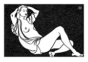 Nude Models Prints - Nude Sketch 58 Print by Leonid Petrushin
