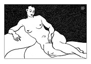 Nude Models Prints - Nude Sketch 63 Print by Leonid Petrushin