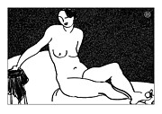 Nude Models Prints - Nude Sketch 65 Print by Leonid Petrushin