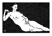 Nude Models Prints - Nude Sketch 68 Print by Leonid Petrushin