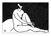 Nude Models Prints - Nude Sketch 69 Print by Leonid Petrushin