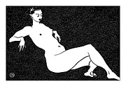 Nude Models Prints - Nude Sketch 70 Print by Leonid Petrushin