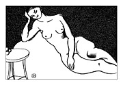 Nude Models Prints - Nude Sketch 71 Print by Leonid Petrushin