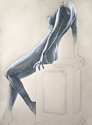 Shoulder Drawings Prints - Nude Study 6 Print by Brent Schreiber