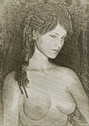 Nude Woman Art Print Prints - Nude Study Print by Maynard Ellis