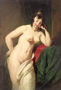 Cloth Framed Prints - Nude Framed Print by William Etty