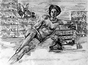 Hockey Drawings Originals - Nude with new skates by Yack Hockey Art