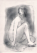 Voluptuous Drawings Prints - Nude Woman Print by Aljo Beran