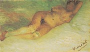 Poster From Digital Art Metal Prints - Nude Woman Reclining Seen from the back Metal Print by Vincent Van Gogh