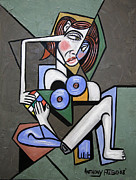 Cubist Posters - Nude Woman With Rubiks cube Poster by Anthony Falbo