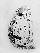 Atmospheric Drawings Prints - Nude Young Female that is Mysterious in a Whispy Atmospheric Hand Wringing Pose Highly Contemplative Print by M Zimmerman